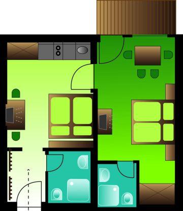 Zimmerplan Appartement Blütenzauber 1