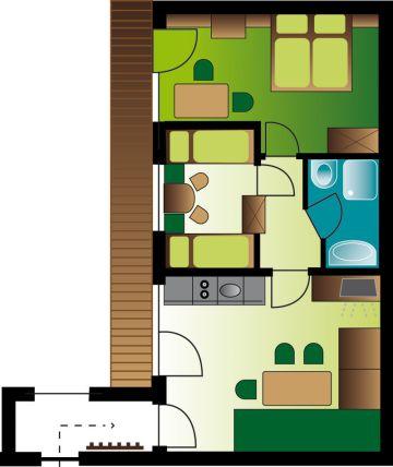 Zimmerplan Appartement Silberdistel