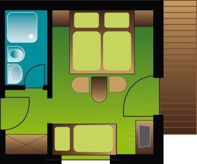 Zimmerplan Dreibettzimmer