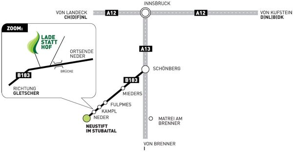 Directions to Pension Ladestatthof